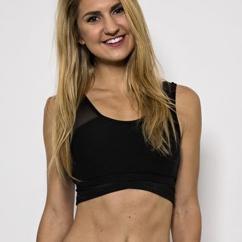 Ana Zabella Black Mesh Sports Bra with thick Straps