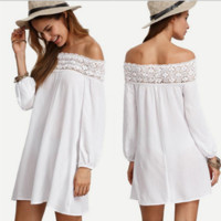 Lace Patchwork Off Shoulder Dress B0014643