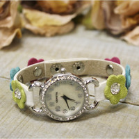 Multi color daisy leather  boho watch, fashion watch, watches | W21