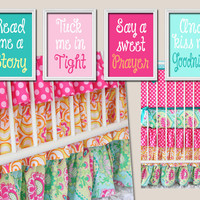 Lily Pad Wall Art Nursery Canvas Artwork Girl Child Cute Pink Aqua Kiss Me Goodnight Quote Crib  Song Print  Set of 4 Prints  Baby Decor