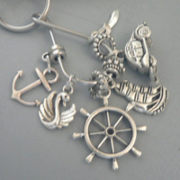 CaptainSwan Once Upon A Time KeyChain  Captain Hook and Emma Swan Cluster Key Ring Chain ABC Tv Show Inspired key Ring