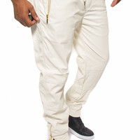 Faux Leather Jogger Sweatpants with Zippers (Ivory)