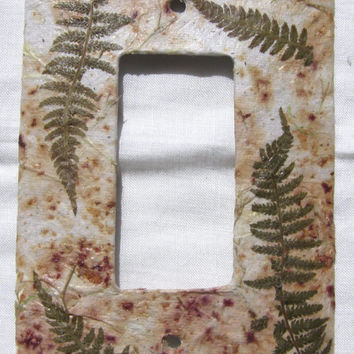 Handmade Paper Switch Plate  Single Switch Plate  Cottage Chic  Botanical Switch Plate  Outlet Cover  Switch Cover  Natural Decor