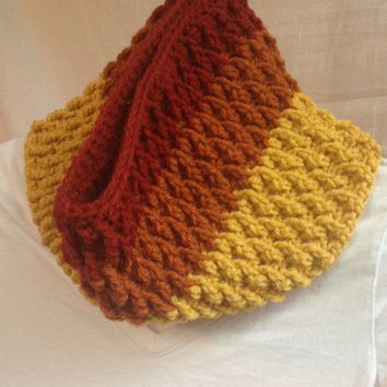 Chunky crochet textured cowl, ombre fall colors, crochet cowl, crochet scarf, textured cowl