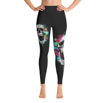 Black Ornamantal Sugar Skulls Yoga Leggings