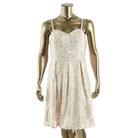 Nine West Womens Mesh Sequined Cocktail Dress
