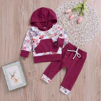 MUQGEW Fashion Baby clothes Boy Girl Clothing Set 2Pcs Floral Tops Hoodie Pants Outfits Set Clothes Winter clothes for children