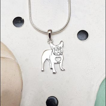 French Bulldog With Heart Cutout Sterling Silver Charm Necklace