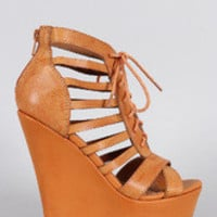 Women's Qupid Caged Lace Up Wedge