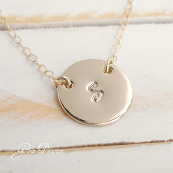14k Gold Filled Hand Stamped Personalized Monogram Initial Necklace - Katie Holmes Inspired Half Inch Disc Handmade Celebrity Style