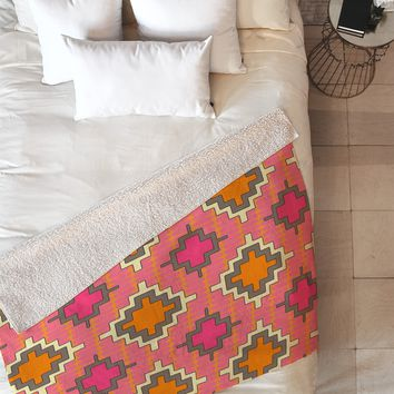 Sharon Turner Tangerine Kilim Fleece Throw Blanket