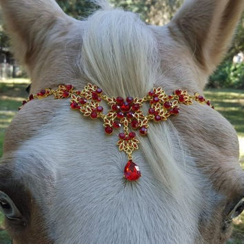 Red Rhinestones and Gold Browband for Pony, Horse or Draft - Equine Bling Tack Jewelry for Valentine's Day