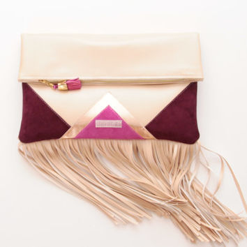 CARRIER 17  / Large leather fringed  fold over daily clutch bag -  Ready to Ship
