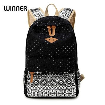 Canvas Printing Backpack Women School Backpacks Bag for Teenage Girls Vintage Laptop Rucksack Bagpack Female Schoolbag Mochila