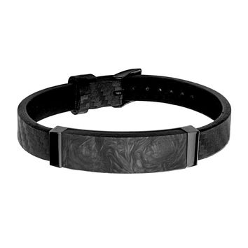 "Black Leather and Solid Carbon Graphite ID Bracelet 9.5"" Adjustable"