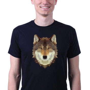 Geometric Poly Triangle Art Wolf Face Head Hipster Animal Print T-shirt