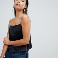 ASOS DESIGN satin cami with embellished straps at asos.com