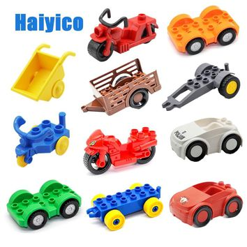 Original Car Big Building Blocks Handcart Motorcycle Trailer Chassis Compatible Duploe City Vehicle Sets Bricks Child Toys Gift