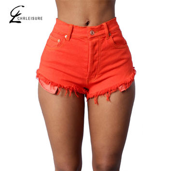 CHRLEISURE S-XL 3 Colors Women Boyfriend Short Jeans Push Up Candy Colors Tassel Denim Jeans Plus Size Slim Shorts with Pocket