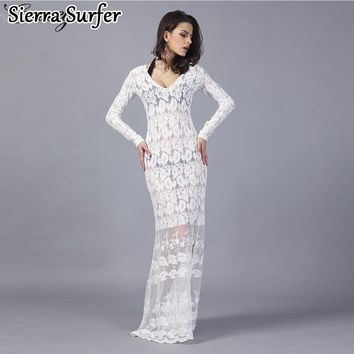 Saida De Beach Women's 2018 Lace Tunic Cover Up On Swimsuit Dress Cape Star Autumn New Lace Sexy Mini Dress Print Acetate Sierra