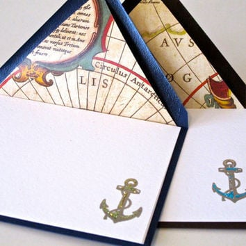Hand Stamped Anchors - Set of 6 - with map lined envelopes