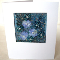 Blue silk flowers beaded fabric art card - aqua patchwork handmade greeting card