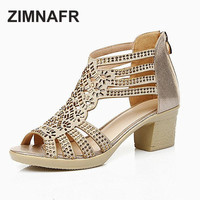 ZIMNAFR BRAND 2017 summer female sandals genuine leather fish mouth sandals cowhide diamond hollow high heel women's sandals