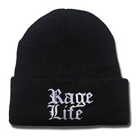 DEBANG Machine Gun Kelly MGK Rage Life Logo Beanie Embroidery Knitted Hat Cap