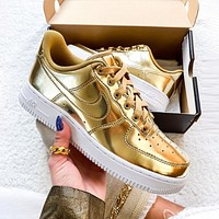 NIKE Air Force 1 Low Women Men Fashion Personality Metal Color Sport Running Shoes Sneakers Golden