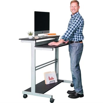 Mobile 48-inch Adjustable Height Standing Computer Desk in Black with Silver Steel Frame
