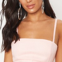 Pastel Pink Boucle Strappy Crop Top