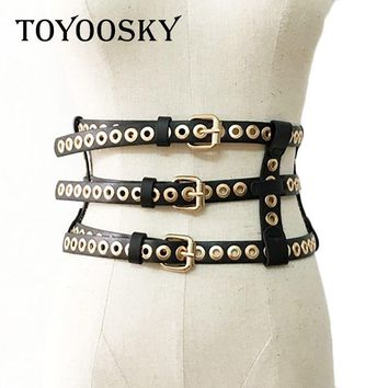 2018 Luxury Brand Designer Punk Wide Girdle Belts for Women ladied Rivet Black Waist Belt Waistband Womens Belt TOYOOSKY