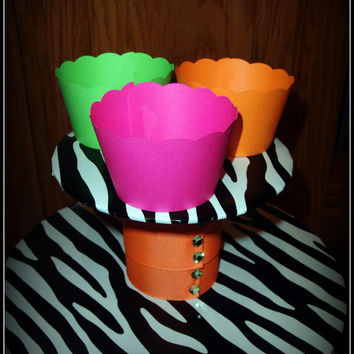 Neon Cupcake Wrappers - Neon Pink, Green, Orange - Hallowen, 80's