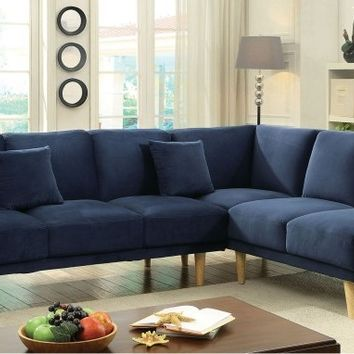 2 pc hagen collection mid century modern navy padded flanellette fabric upholstered sectional sofa