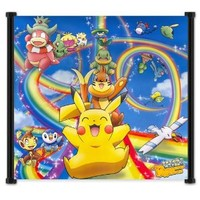 """Pokemon Anime Fabric Wall Scroll Poster (34""""x32"""") Inches"""