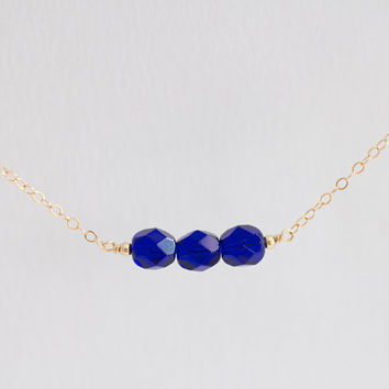 Cobalt blue and gold filled beads beaded bar necklace - minimal gold filled jewelry by AmiesAmies on Etsy