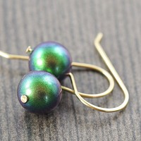 Rich emerald green Swarovski pearl earrings on gold filled wires