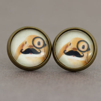 Fake Plugs Stud Earrings : Adorable Bunny Rabbit Wearing a Monocle and Moustache, Earrings, Cute, Wildlife, Animals Wearing Clothes