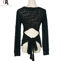 Black Long Sleeve Backless Bowknot Knitted Slim Sweater Casual Sexy Streetwear Fall Spring Top 2016 Women Pullover