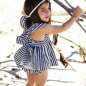 Girls Dress Summer 2017 Brand England Navy Blue Dress Sleeveless Baby Girl Clothes Stripe Backless Girls Dresses for Party 0-24M