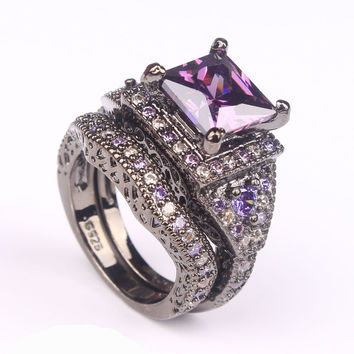 Nightmare - Royalty Diamond Ring - Silver/Black/Onyx