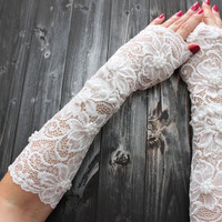 Long Lace Gloves, White Lace Wedding Cuff, White Fingerless Lace gloves, Shiny Beads Wristlet Cuff Glovelet Cuff, Autumn Winter wedding