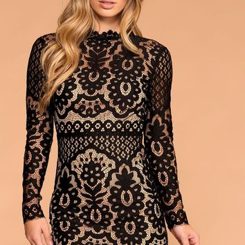 Perfect Evening Black Lace Mini Dress
