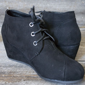 Montana Suede low wedge lace-up bootie   Black