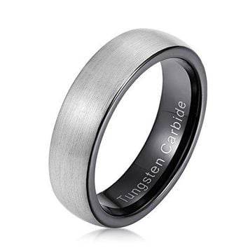 6mm Tungsten Carbide Ring Black Plated Domed Matte Brushed Finished (Platinum)
