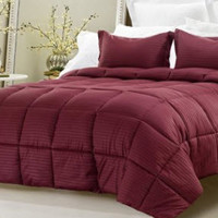 3PC REVERSIBLE SOLID/ EMBOSS STRIPED COMFORTER SET- OVERSIZED AND OVERFILLED ( 2 BEDDING LOOKS IN 1) - Various Colors