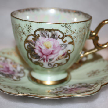Lefton china tea cup, hand painted, soft green with pink roses