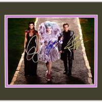 Jennifer Lawrence Elizabeth Banks & Josh Hutcherson in The Hunger Games: Catching Fire Autographed 8x10 Photo Matted to 11x14 Size