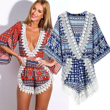 Women's Fashion Deep V Batwing Sleeve Print Lace Shorts Jumpsuit [5013290884]
