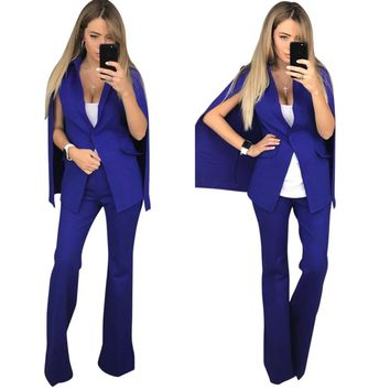 Solid Color Formal Blazer and Long Trousers